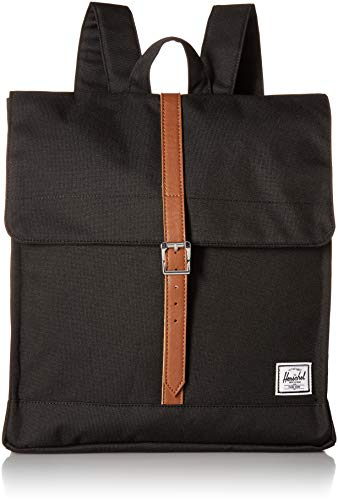 Herschel Supply Co. City Mid-Volume Backpack, Black/Tan Synthetic Leather, One Size ()