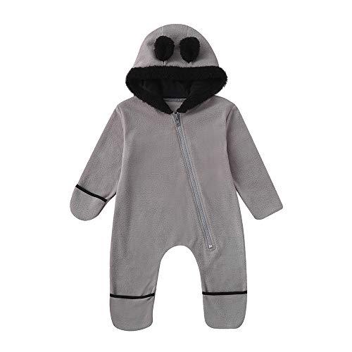 WensLTD Adorable Baby Girls Boys Cute Ears Hoodie Romper Bunting Onesie Pajamas Winter Outerwear Jumpsuit (0-3 Months, Gray) -
