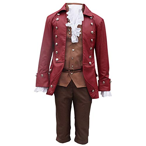 COSBOOM Halloween Men's Beauty and The Beast Gaston Performance Uniform Cosplay Costume (S) -