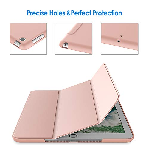 JETech Case for iPad (9.7-Inch, 2018/2017 Model, 6th/5th Generation), Smart Cover Auto Wake/Sleep, Rose Gold