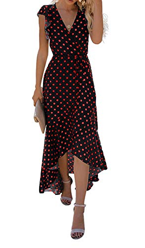 GRECERELLE Women's Summer Floral Print Cross V Neck Dress Bohemian Flowy Long Maxi Dresses PD-Red - Cross Beautiful