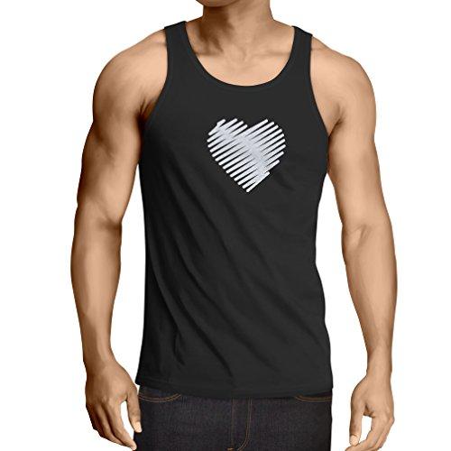Camisetas de Tirantes para Hombre Corazón con estilo, te amo regalos Trajes de día de San Valentín Negro Fluorescente