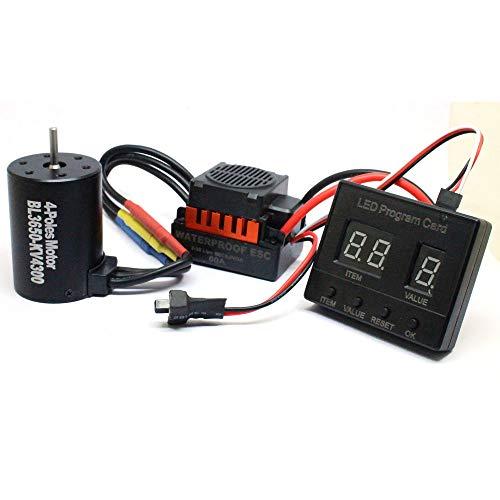 Basde Brushless Motor Sensorless, Waterproof Speed Controller Combo Set Upgrade Power System for B3650 4300KV +60A ESC + LED Program Card Combo for 1/10 RC Car Truck ()