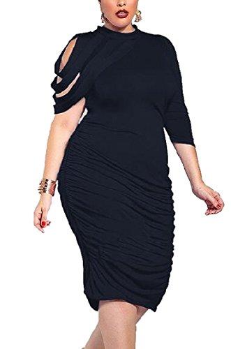 One Skinny Shirring Black Womens Evening Dress Sleeve Jaycargogo Plus Fashion Size Irregular tqHgwxF