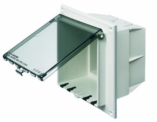 Arlington DBVR2C-1 Low Profile IN BOX Electrical Box with Weatherproof Cover for Flat Surfaces, 2-Gang, Vertical, Clear by Arlington Industries