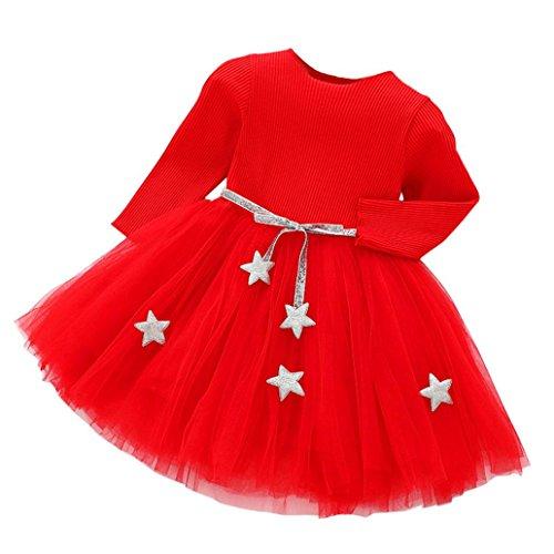 Feitong Toddler Kids Baby Girls Long Sleeve Star Clothes Tutu Party Princess Dresses -