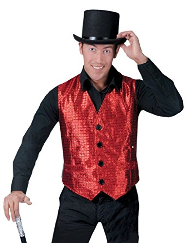 (Funny Fashion Mens Sparkly Red Flashy Show Biz Musical Halloween Costume Vest)