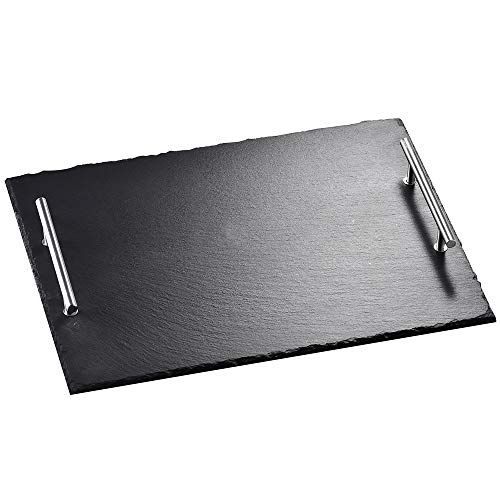 Malacasa Slate Cheese Board Rectangular Tray with Handles Plate Sushi Serving Tray Dinnerware Black, 15.7 x 11.8 inches