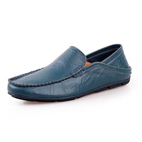 Shenn Homme Conduire UNE Voiture Glisser Sur Confort Cuir Mocassins Chaussures 20138 Marine DiZLJz1KUp