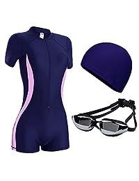 Traje de baño Mujer Conservador combinado Gran tamaño Pérdida de peso Vientre Tres piezas Gorro de natación Gafas protectoras