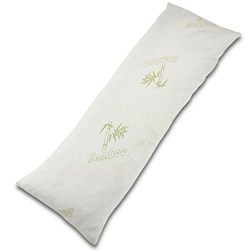 Bamboo Body Pillow with Precision Cut Memory Foam - The Best Hypoallergenic Down Alternative for Whole Body Contoured Support - Perfect for Comfort During Pregnancy - Plush Relaxation
