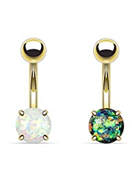 2 - Green White Synthetic Opal Glitter Prong Gold IP Surgical Steel Belly Button Ring 14 Gauge 3/8 Inch Barbell B439