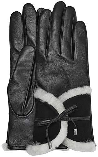 (UGG Women's Combo Sheepskin Trim and Leather Tech Gloves Black Multi MD)