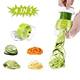 Handheld Spiralizer Vegetable Slicer, Adoric 4 in 1 Zucchini Spaghetti Maker Heavy Duty, Veggie Spiral Cutter Great for Vegetable Fruit Carrots Zucchini Cucumber