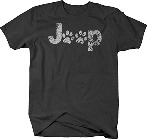 OS Gear Distressed - Jeep Paw Prints Dog Lover Tshirt - Medium