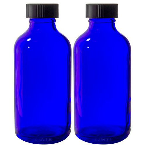 4 oz Cobalt Blue Glass Boston Round Bottle with Black Phenolic Cone Lined Caps + Labels (2 Pack)