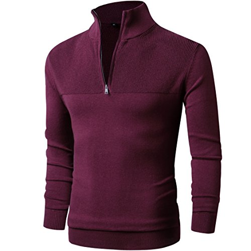 LTIFONE Mens Slim Fit Zip Up Mock Neck Polo Sweater Casual Long Sleeve Sweater and Pullover Sweaters with Ribbing Edge(Red,M