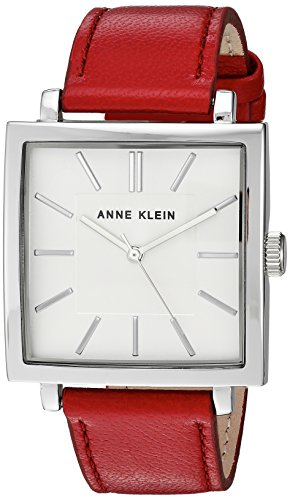 Anne Klein Women's AK/2737SVRD Silver-Tone and Red Leather Strap Watch