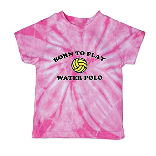 (Born to Play Water Polo Short Sleeve Crewneck Baby Boys-Girls Cotton Tie Dye T-Shirt Fine Jersey - Pink, 3T)