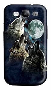 Samsung Galaxy I9300 Case, Samsung Galaxy I9300 Cases -Three Wolf Moon in Blue Polycarbonate Hard Case Back Cover for Samsung Galaxy S3/I9300 3D