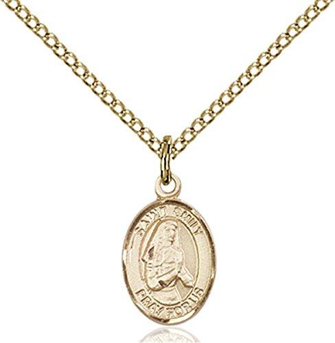 Patron Saints by Bliss 14K Gold Filled Saint Emily de Vialar Petite Charm Medal, 1/2 Inch (Saint Emily De Vialar Patron Saint Of)