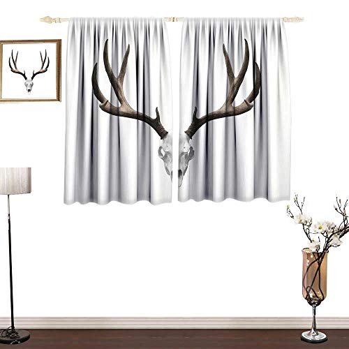 Maikechen Antlers DecorDarkening Thermal Insulated Living Room CurtainsA Deer Skull Skeleton Head Bone Halloween Weathered Hunter Collectionhighly Recommended W120 x L96