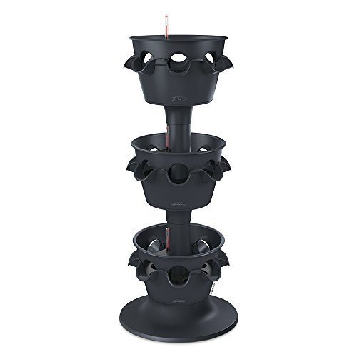 Lechuza Cascada Expansion Planter Tower with Pedestal Planter, Slate Matte, Set of 3 (Stacked Flower Pots)