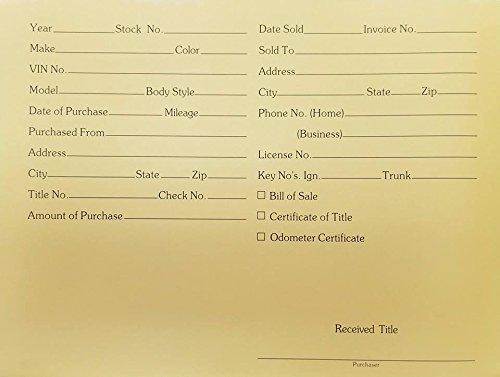 Vehicle Deal Envelopes Dealer Jackets File Folders(25/pack) (Manila Color)