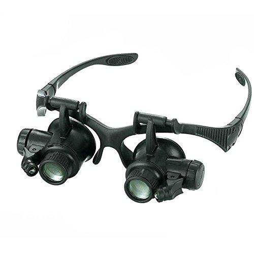 Glasses Magnifier 10x 15x 20x 25x LED Double Glasses Loup...