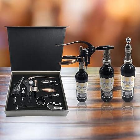 Juego De Accesorios Kit de Vino 9 Piezas - Abridor De Botella, Recoge Gotas, Aireador, Decantador, Tapón de Vacío, Corta Cápsulas, Termómetro