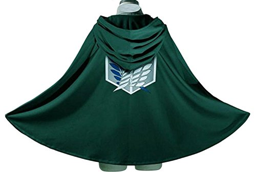 On Cape Attack Titan Costume (Attack on Titan Green Cape 170cm Length AOT Cosplay Cloak)