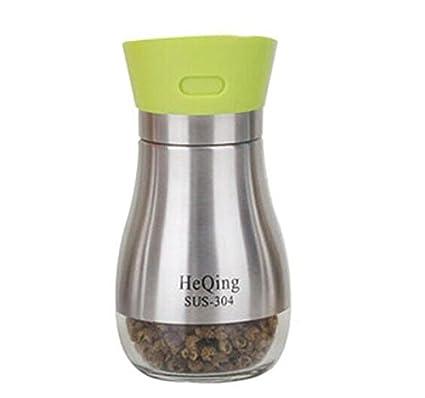 FJXLZ® Inicio De acero inoxidable Spice Jar Combinación Condimento Botellas Condimento Caja De Vidrio Salt Cans Seasoning Box Cocina Pequeño y ligero ...