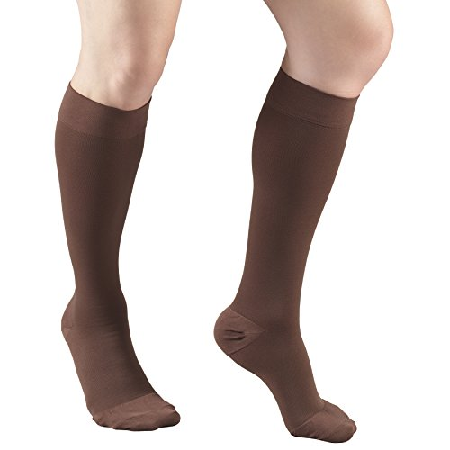 Truform 20-30 mmHg Compression Stockings for Men and Women, Knee High Length, Closed Toe, Brown, Medium
