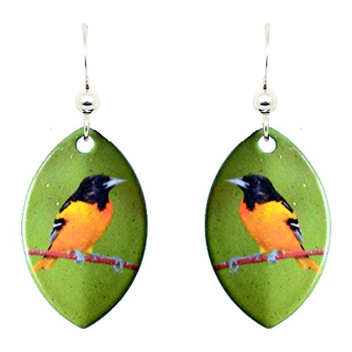 d'ears Baltimore Oriole Earrings (Baltimore Bird Silver Orioles)