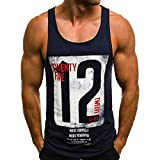 JXG Men Crew Neck Jersey Letter Print T-Shirts Sleeveless Tank Tops Navy Blue US M