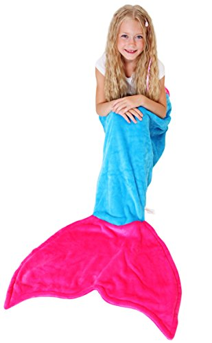 Fairies Sleeping 3 Beauty Costumes From (Mermaid Tail Blanket - Soft and Warm Polar Fleece Fabric Blanket by Cuddly Blankets for Kids and Teens (Ages 3-12) (Ocean Blue and Hot)