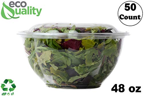 - 48oz Salad Bowls To-Go with Lids (50 Count) - Clear Plastic Disposable Salad Containers | Airtight, Lunch, Salads, Parfait, Fruits, Leak Proof, Airtight, Fresh, Meal Prep | Rose Bowl Container (48oz)