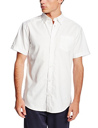 Lee Uniforms Men's Short Sleeve Oxford Shirt, White, Small -