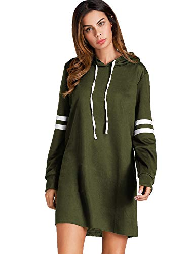 SweatyRocks Women's Striped Long Sleeve Casual Pullover Hoodie Sweatshirt Dress (Small, Army Green)
