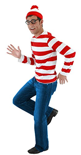Where's Waldo Costume Men (elope Where's Waldo Adult Costume Kit, Red/White, Small/Medium)