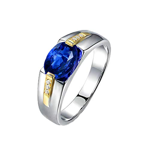 MoAndy White Gold 18K Rings Women Jewelry Anniversary Rings for Women Sapphire 1.4ct & Diamond Blue Size 6