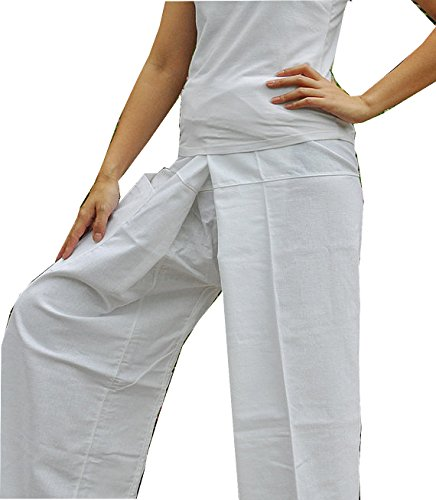 Beautiful Pure White Yoga Pants Thai Fisherman Trousers Cotton Drill Free Size by Thai silk and cotton