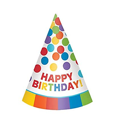 Amazon Amscan Colorful Rainbow Paper Cone Party Hats