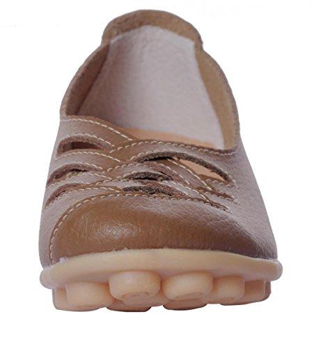 Serene Womens Cowhide Flat Casual Slip Op Rijdende Loafer Schoenen Kaki