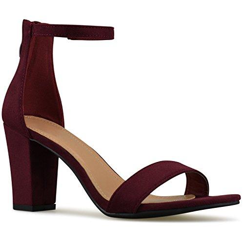 Premier Standard - Women's Strappy Chunky Block High Heel - Formal, Wedding, Party Simple Classic Pump, TPS Heels-Ha1 Wine Size 7 by Premier Standard