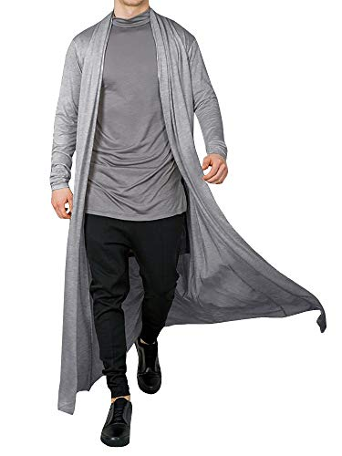 Men's Ruffle Shawl Collar Cardigan Open Front Outwear Long Cape Poncho Trench Coat (Grey, Medium)
