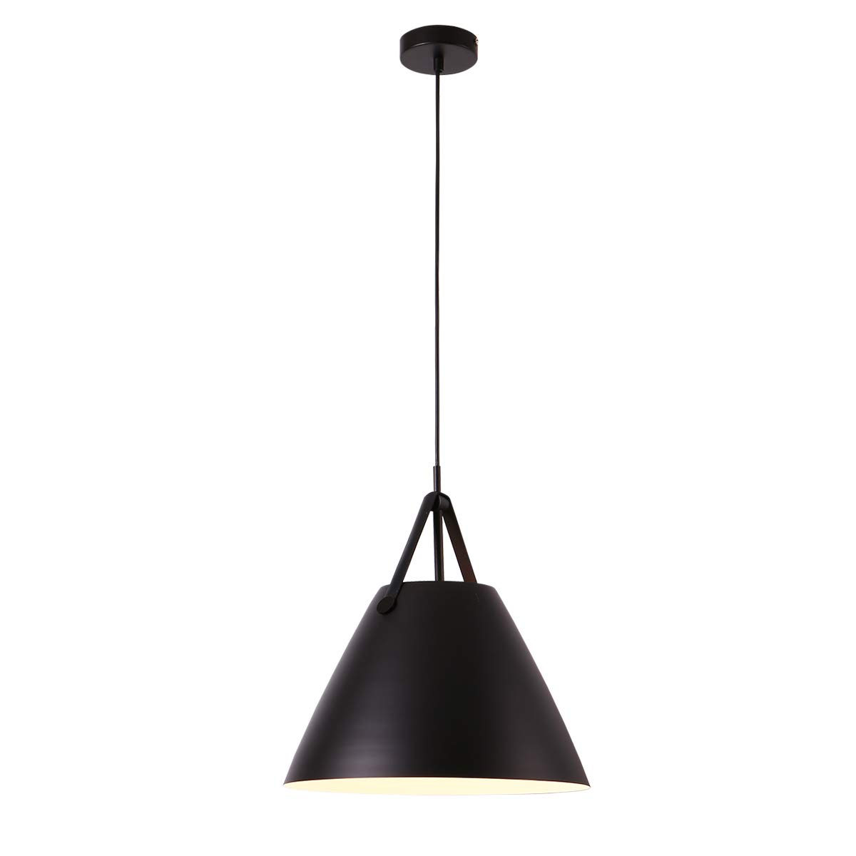 Contemporary One-Light Adjustable Pendant Light-Nordic Simple Style Oval Shape Household Ceiling Hanging Lamp (Black, L)