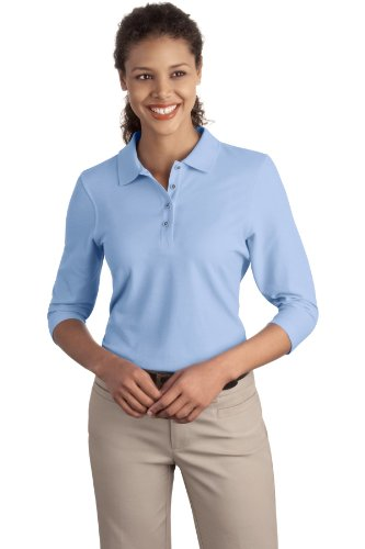 Port Authority Ladies Silk Touch 3 4 Sleeve Polo  Light Blue  Xxxx Large