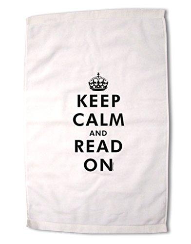 TooLoud Keep Calm and Read Onプレミアムコットンスポーツタオル16