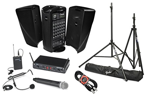 Fender Passport Event Portable PA System Bundle with Samson Concert 288 All-In-One Dual-Channel Wireless System and Accessories (5 - Sound Fender Portable System